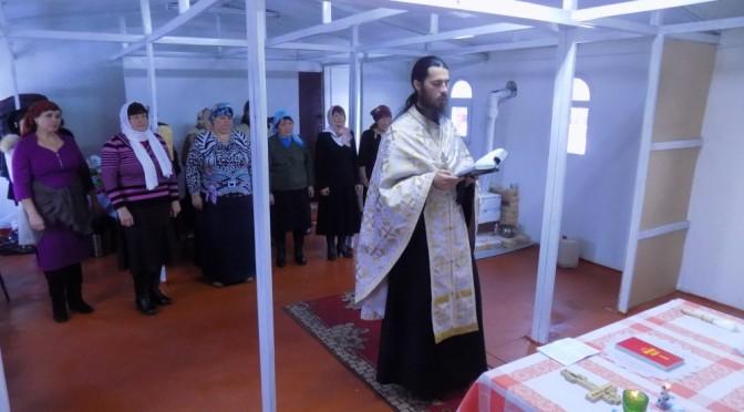 Благодарственный молебен по завершении устроения модульного храма в пос. Хову-Аксы